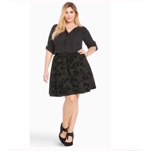 Torrid Black Burnout Velvet Pleated Skater Skirt
